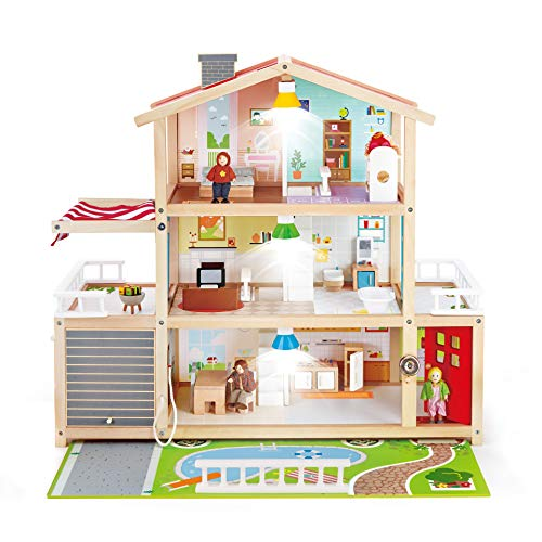 Hape Doll Family Mansion| Award Winning 10 Bedroom Doll House, Wooden Play Mansion with Accessories for Ages 3+ Years
